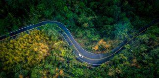 autoroutes door het bos in Europa