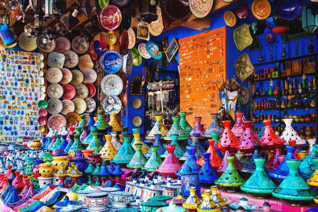 Tajin borden in Marrakesh