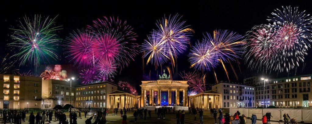Duitsland Brandenburger Tor vuurwerk